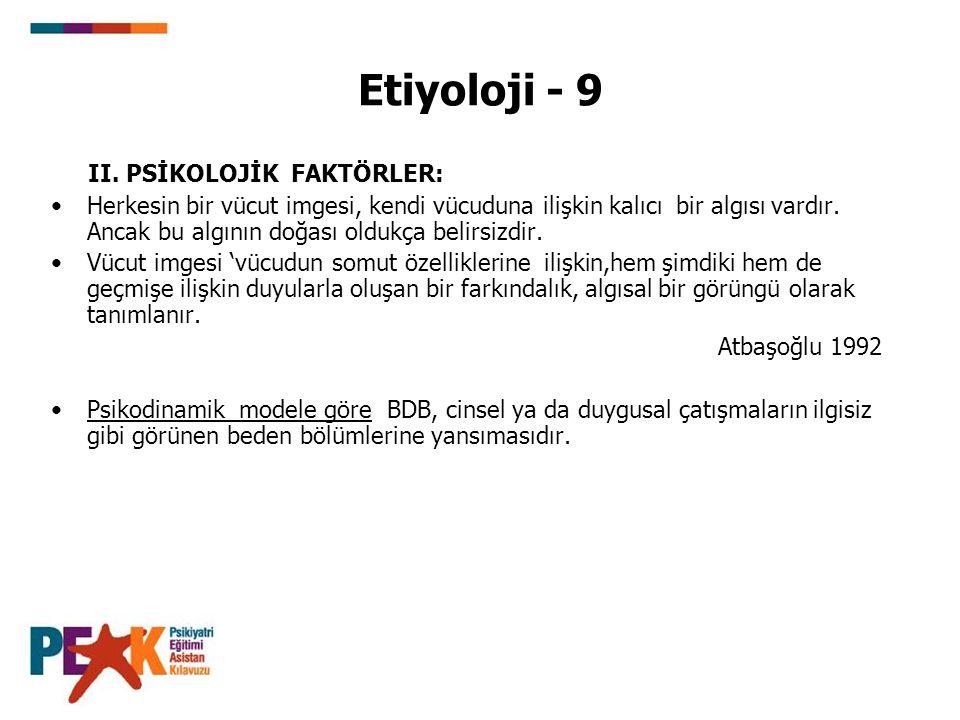Etiyoloji - 9 II. PSİKOLOJİK FAKTÖRLER: Herkesin bir vücut imgesi, kendi vücuduna ilişkin kalıcı bir algısı vardır. Ancak bu algının doğası oldukça be