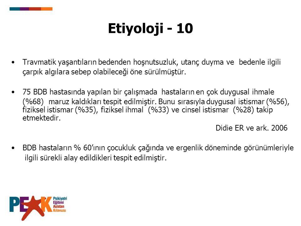 Etiyoloji - 10 Travmatik yaşantıların bedenden hoşnutsuzluk, utanç duyma ve bedenle ilgili çarpık algılara sebep olabileceği öne sürülmüştür. 75 BDB h
