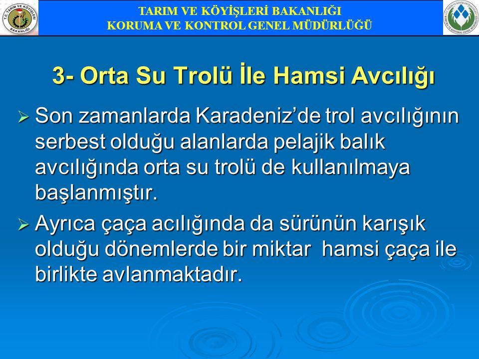 3- Orta Su Trolü İle Hamsi Avcılığı  Son zamanlarda Karadeniz'de trol avcılığının serbest olduğu alanlarda pelajik balık avcılığında orta su trolü de