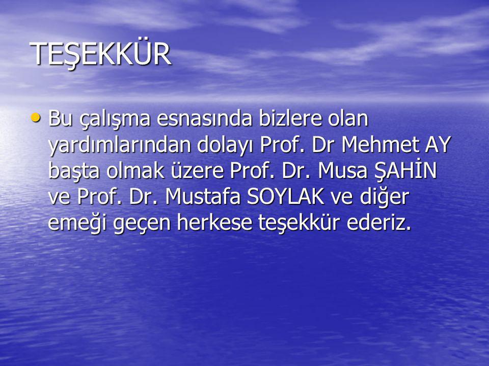 TEŞEKKÜR Bu çalışma esnasında bizlere olan yardımlarından dolayı Prof. Dr Mehmet AY başta olmak üzere Prof. Dr. Musa ŞAHİN ve Prof. Dr. Mustafa SOYLAK