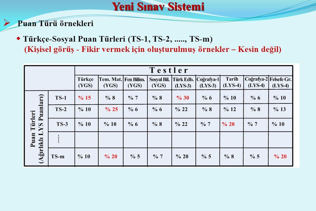 Yeni Sınav Sistemi  Puan Türü örnekleri  Türkçe-Sosyal Puan Türleri (TS-1, TS-2,....., TS-m) (Kişisel görüş - Fikir vermek için oluşturulmuş örnekler – Kesin değil)