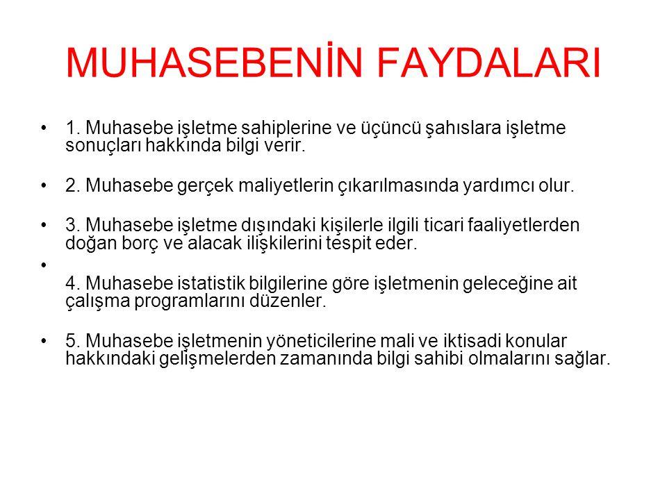 MUHASEBENİN FAYDALARI 1.