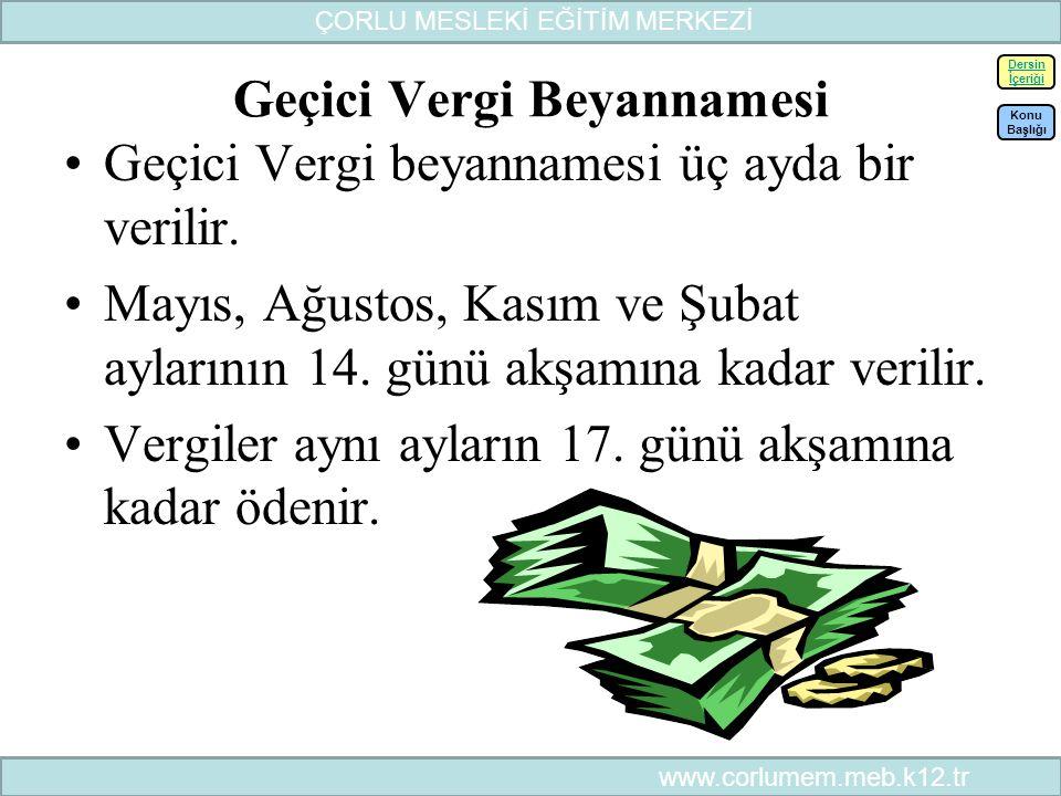 55 Geçici Vergi Beyannamesi Geçici Vergi beyannamesi üç ayda bir verilir.