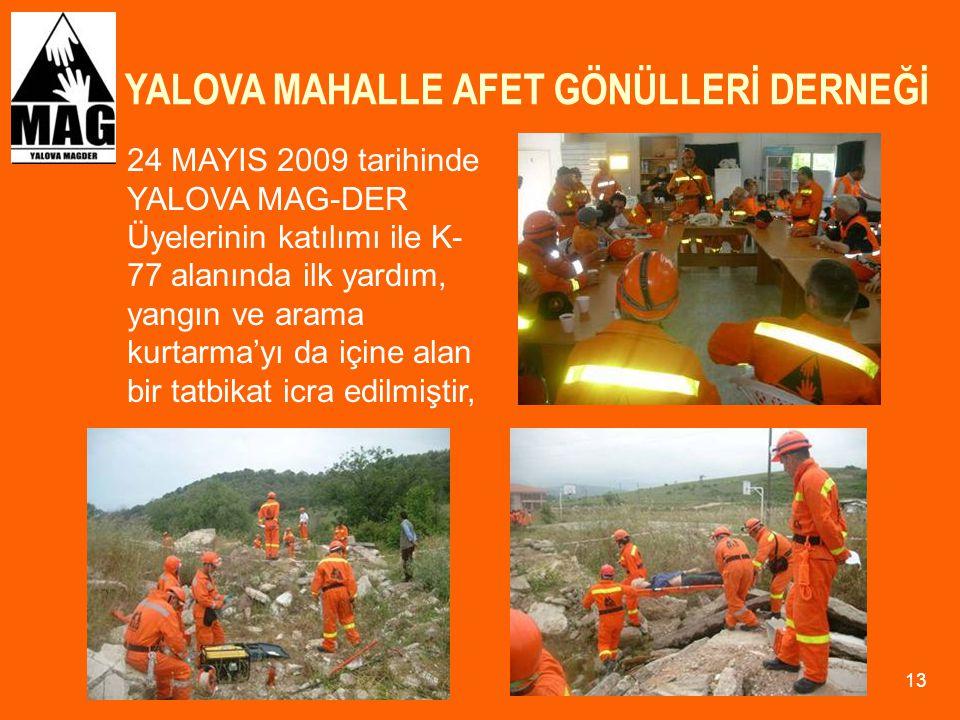 YALOVA MAHALLE AFET GÖNÜLLERİ DERNEĞİ 13 24 MAYIS 2009 tarihinde YALOVA MAG-DER Üyelerinin katılımı ile K- 77 alanında ilk yardım, yangın ve arama kur