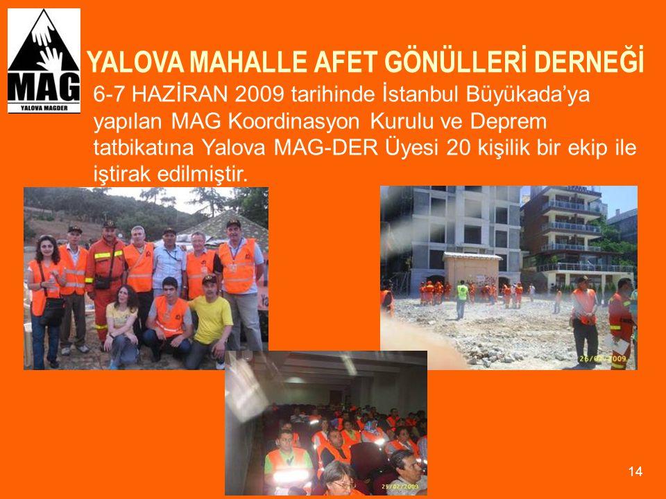 YALOVA MAHALLE AFET GÖNÜLLERİ DERNEĞİ 14 6-7 HAZİRAN 2009 tarihinde İstanbul Büyükada'ya yapılan MAG Koordinasyon Kurulu ve Deprem tatbikatına Yalova