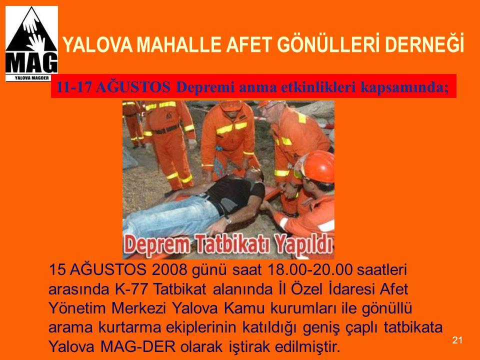 YALOVA MAHALLE AFET GÖNÜLLERİ DERNEĞİ 21 11-17 AĞUSTOS Depremi anma etkinlikleri kapsamında; 15 AĞUSTOS 2008 günü saat 18.00-20.00 saatleri arasında K