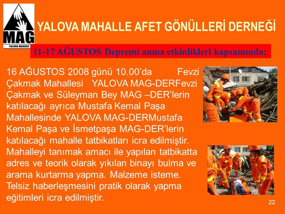 YALOVA MAHALLE AFET GÖNÜLLERİ DERNEĞİ 22 11-17 AĞUSTOS Depremi anma etkinlikleri kapsamında; 16 AĞUSTOS 2008 günü 10.00'da Fevzi Çakmak MahallesiYALOV