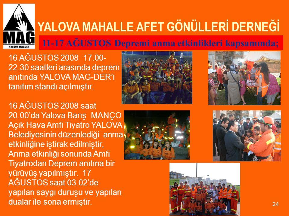YALOVA MAHALLE AFET GÖNÜLLERİ DERNEĞİ 24 16 AĞUSTOS 2008 17.00- 22.30 saatleri arasında deprem anıtında YALOVA MAG-DER'i tanıtım standı açılmıştır. 16