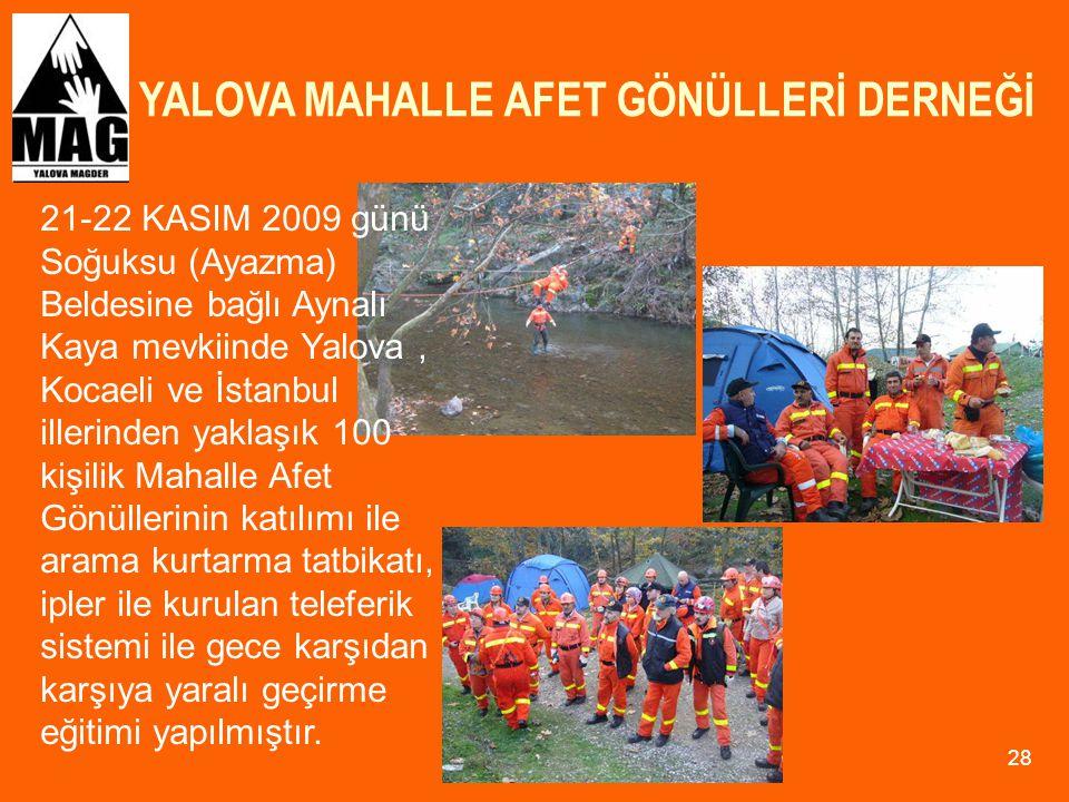 YALOVA MAHALLE AFET GÖNÜLLERİ DERNEĞİ 28 21-22 KASIM 2009 günü Soğuksu (Ayazma) Beldesine bağlı Aynalı Kaya mevkiinde Yalova, Kocaeli ve İstanbul ille
