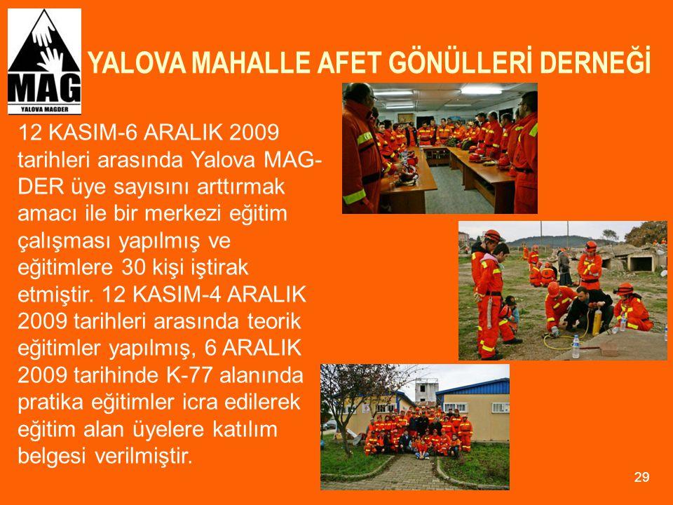 YALOVA MAHALLE AFET GÖNÜLLERİ DERNEĞİ 29 12 KASIM-6 ARALIK 2009 tarihleri arasında Yalova MAG- DER üye sayısını arttırmak amacı ile bir merkezi eğitim