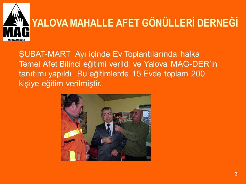 YALOVA MAHALLE AFET GÖNÜLLERİ DERNEĞİ 14 6-7 HAZİRAN 2009 tarihinde İstanbul Büyükada'ya yapılan MAG Koordinasyon Kurulu ve Deprem tatbikatına Yalova MAG-DER Üyesi 20 kişilik bir ekip ile iştirak edilmiştir.