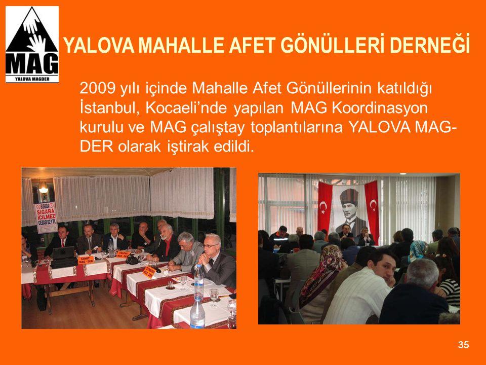 YALOVA MAHALLE AFET GÖNÜLLERİ DERNEĞİ 35 2009 yılı içinde Mahalle Afet Gönüllerinin katıldığı İstanbul, Kocaeli'nde yapılan MAG Koordinasyon kurulu ve