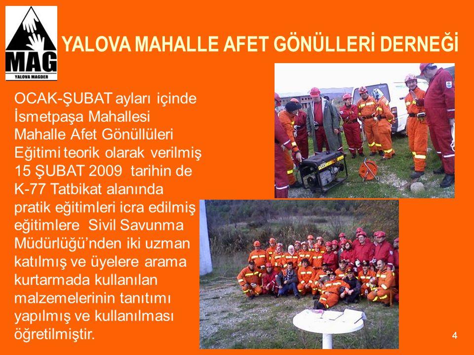 YALOVA MAHALLE AFET GÖNÜLLERİ DERNEĞİ 35 2009 yılı içinde Mahalle Afet Gönüllerinin katıldığı İstanbul, Kocaeli'nde yapılan MAG Koordinasyon kurulu ve MAG çalıştay toplantılarına YALOVA MAG- DER olarak iştirak edildi.