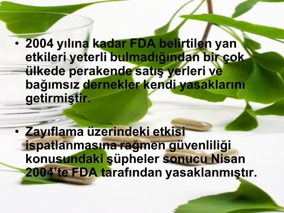 2004 yılına kadar FDA belirtilen yan etkileri yeterli bulmadığından bir çok ülkede perakende satış yerleri ve bağımsız dernekler kendi yasaklarını get