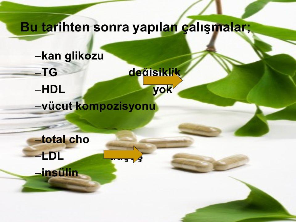 Bu tarihten sonra yapılan çalışmalar; –kan glikozu –TG değişiklik –HDL yok –vücut kompozisyonu –total cho –LDL düşüş –insülin