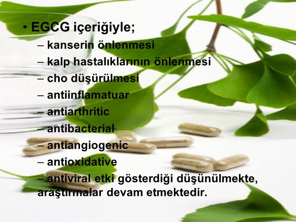 EGCG içeriğiyle; – kanserin önlenmesi – kalp hastalıklarının önlenmesi – cho düşürülmesi – antiinflamatuar – antiarthritic – antibacterial – antiangio