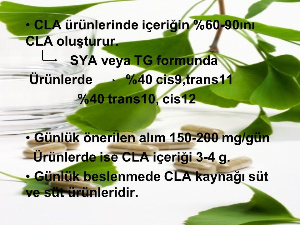 CLA ürünlerinde içeriğin %60-90ını CLA oluşturur. SYA veya TG formunda Ürünlerde %40 cis9,trans11 %40 trans10, cis12 Günlük önerilen alım 150-200 mg/g