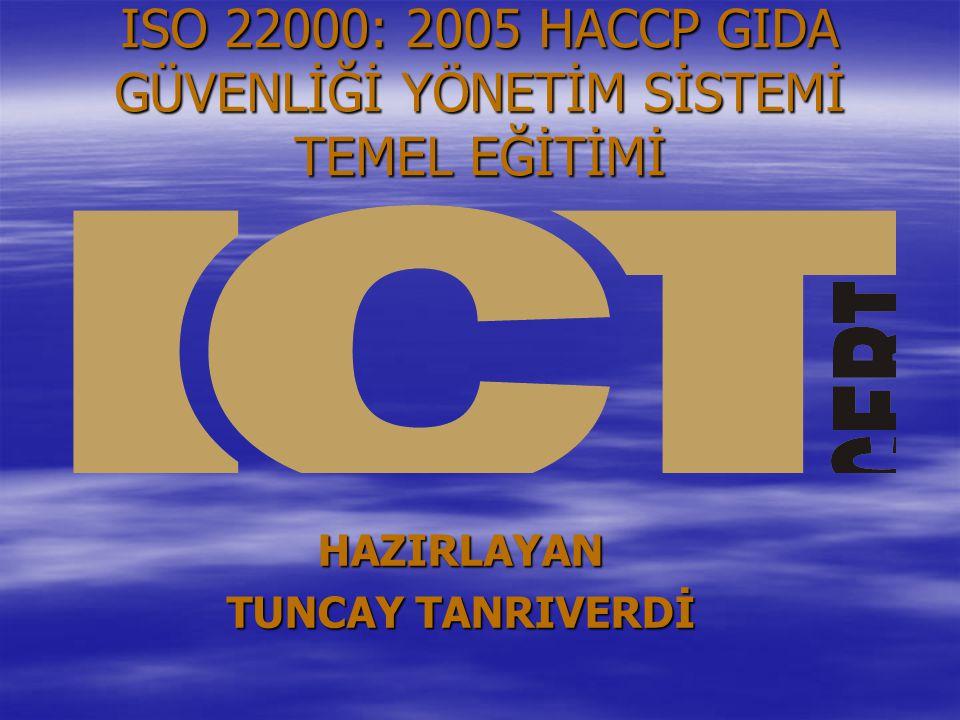 ISO 22000: 2005 HACCP GIDA GÜVENLİĞİ YÖNETİM SİSTEMİ TEMEL EĞİTİMİ HAZIRLAYAN TUNCAY TANRIVERDİ