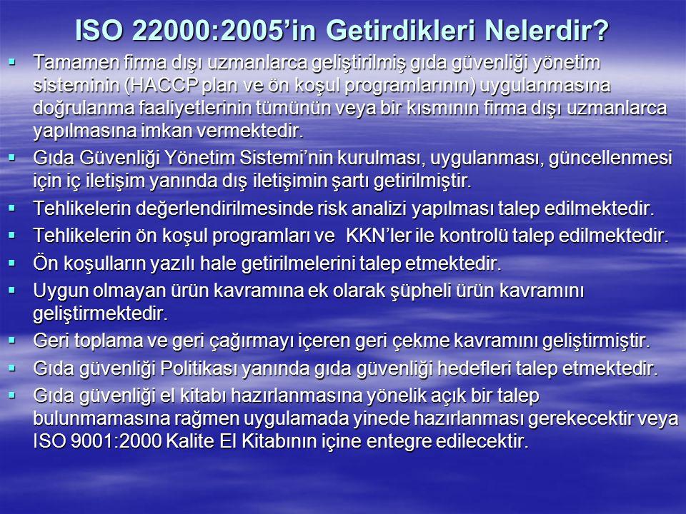 ISO 22000:2005'in Getirdikleri Nelerdir?  Tamamen firma dışı uzmanlarca geliştirilmiş gıda güvenliği yönetim sisteminin (HACCP plan ve ön koşul progr