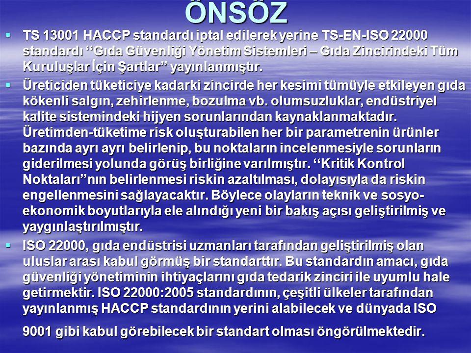 ÖNSÖZ  TS 13001 HACCP standardı iptal edilerek yerine TS-EN-ISO 22000 standardı ''Gıda Güvenliği Yönetim Sistemleri – Gıda Zincirindeki Tüm Kuruluşla