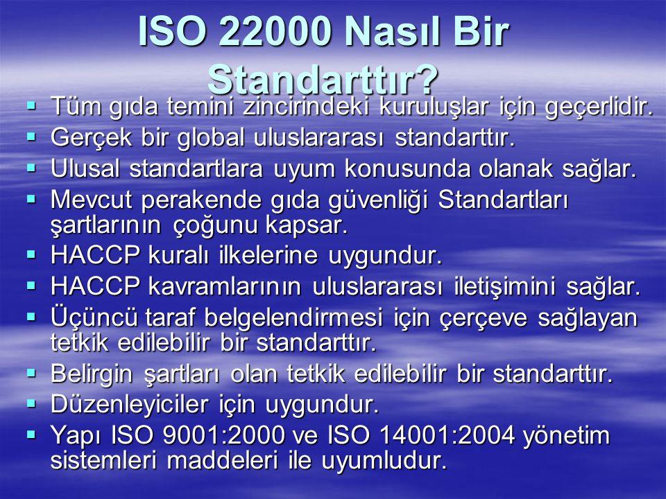 ISO 22000 Nasıl Bir Standarttır?  Tüm gıda temini zincirindeki kuruluşlar için geçerlidir.  Gerçek bir global uluslararası standarttır.  Ulusal sta
