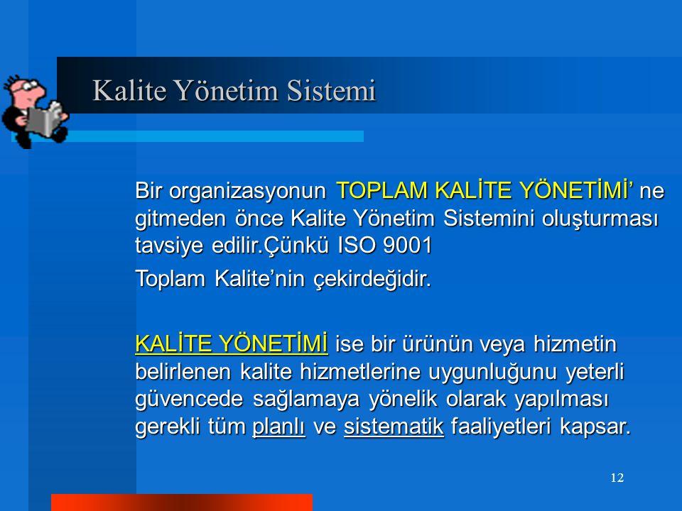Kalite Yönetim Sistemi Kalite Yönetim Sistemi Bir organizasyonun TOPLAM KALİTE YÖNETİMİ' ne gitmeden önce Kalite Yönetim Sistemini oluşturması tavsiye edilir.Çünkü ISO 9001 Toplam Kalite'nin çekirdeğidir.