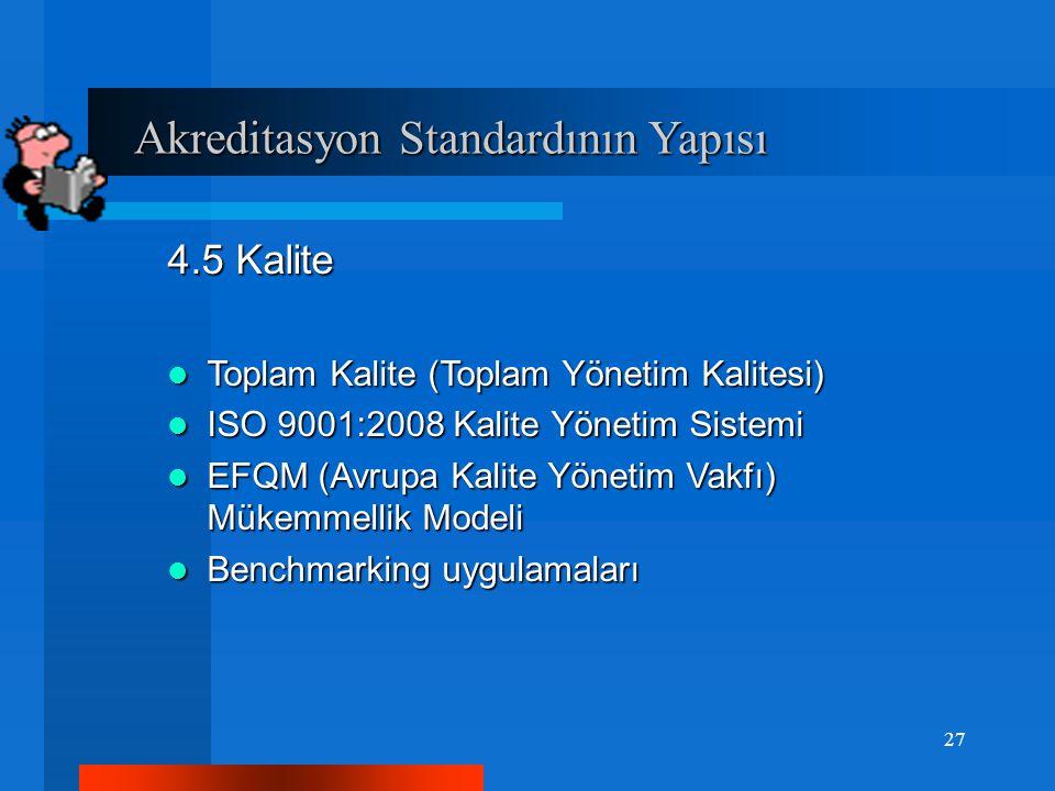 Akreditasyon Standardının Yapısı Akreditasyon Standardının Yapısı 4.5 Kalite Toplam Kalite (Toplam Yönetim Kalitesi) Toplam Kalite (Toplam Yönetim Kalitesi) ISO 9001:2008 Kalite Yönetim Sistemi ISO 9001:2008 Kalite Yönetim Sistemi EFQM (Avrupa Kalite Yönetim Vakfı) Mükemmellik Modeli EFQM (Avrupa Kalite Yönetim Vakfı) Mükemmellik Modeli Benchmarking uygulamaları Benchmarking uygulamaları 27