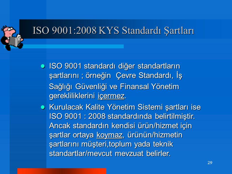 ISO 9001:2008 KYS Standardı Şartları ISO 9001:2008 KYS Standardı Şartları ISO 9001 standardı diğer standartların şartlarını ; örneğin Çevre Standardı, İş ISO 9001 standardı diğer standartların şartlarını ; örneğin Çevre Standardı, İş Sağlığı Güvenliği ve Finansal Yönetim gerekliliklerini içermez.