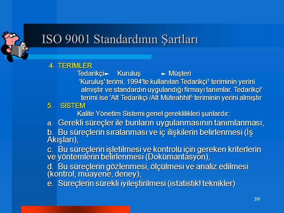 ISO 9001 Standardının Şartları ISO 9001 Standardının Şartları 4.TERİMLER 4.TERİMLER Tedarikçi ► Kuruluş ► Müşteri Tedarikçi ► Kuruluş ► Müşteri Kuruluş terimi, 1994 te kullanılan Tedarikçi 1 teriminin yerini Kuruluş terimi, 1994 te kullanılan Tedarikçi 1 teriminin yerini almıştır ve standardın uygulandığı firmayı tanımlar.