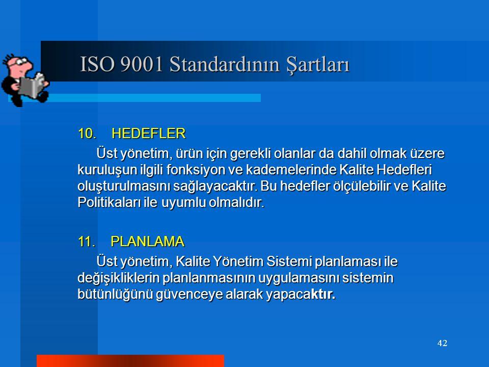 ISO 9001 Standardının Şartları ISO 9001 Standardının Şartları 10. HEDEFLER Üst yönetim, ürün için gerekli olanlar da dahil olmak üzere kuruluşun ilgil