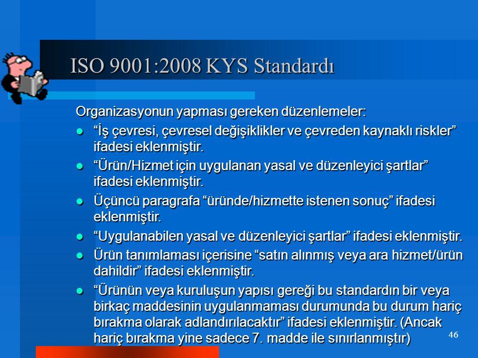 """ISO 9001:2008 KYS Standardı ISO 9001:2008 KYS Standardı Organizasyonun yapması gereken düzenlemeler: """"İş çevresi, çevresel değişiklikler ve çevreden k"""