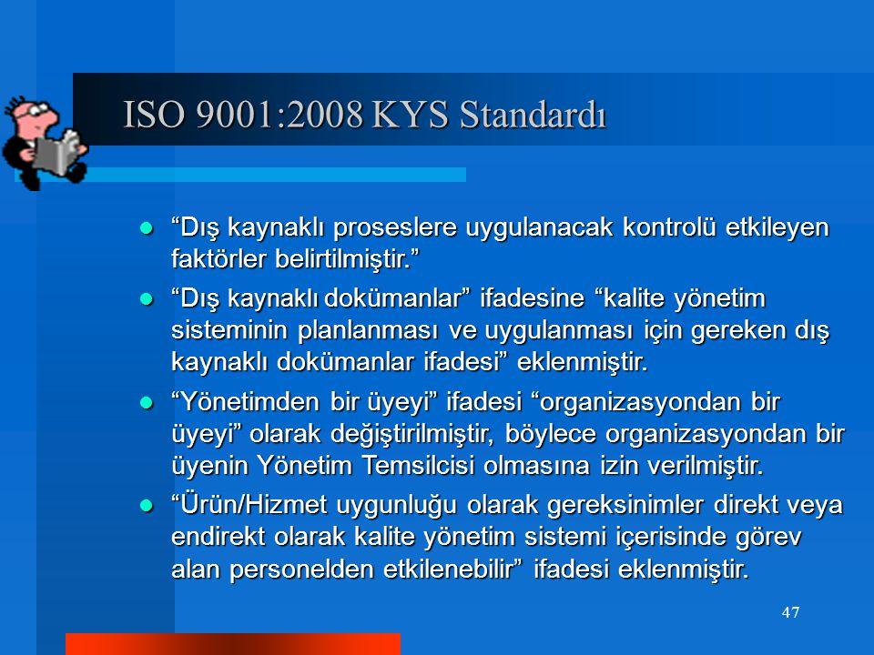 ISO 9001:2008 KYS Standardı ISO 9001:2008 KYS Standardı Dış kaynaklı proseslere uygulanacak kontrolü etkileyen faktörler belirtilmiştir. Dış kaynaklı proseslere uygulanacak kontrolü etkileyen faktörler belirtilmiştir. Dış kaynaklı dokümanlar ifadesine kalite yönetim sisteminin planlanması ve uygulanması için gereken dış kaynaklı dokümanlar ifadesi eklenmiştir.