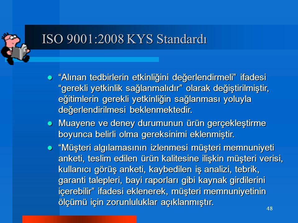 ISO 9001:2008 KYS Standardı ISO 9001:2008 KYS Standardı Alınan tedbirlerin etkinliğini değerlendirmeli ifadesi gerekli yetkinlik sağlanmalıdır olarak değiştirilmiştir, eğitimlerin gerekli yetkinliğin sağlanması yoluyla değerlendirilmesi beklenmektedir.