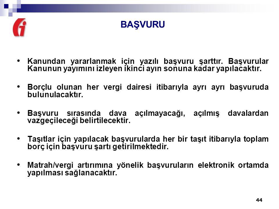 44 BAŞVURU Kanundan yararlanmak için yazılı başvuru şarttır.