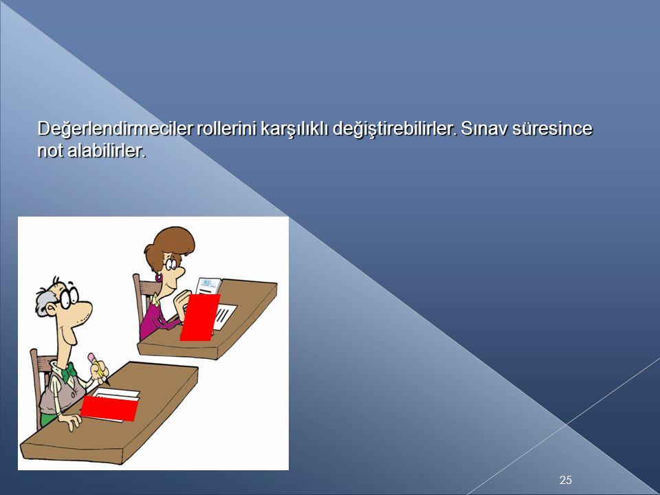 Değerlendirmeciler rollerini karşılıklı değiştirebilirler. Sınav süresince not alabilirler. 25