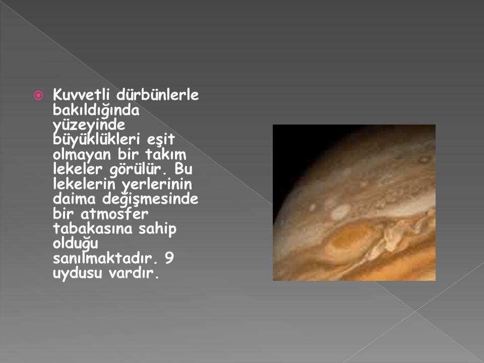  Kuvvetli dürbünlerle bakıldığında yüzeyinde büyüklükleri eşit olmayan bir takım lekeler görülür. Bu lekelerin yerlerinin daima değişmesinde bir atmo