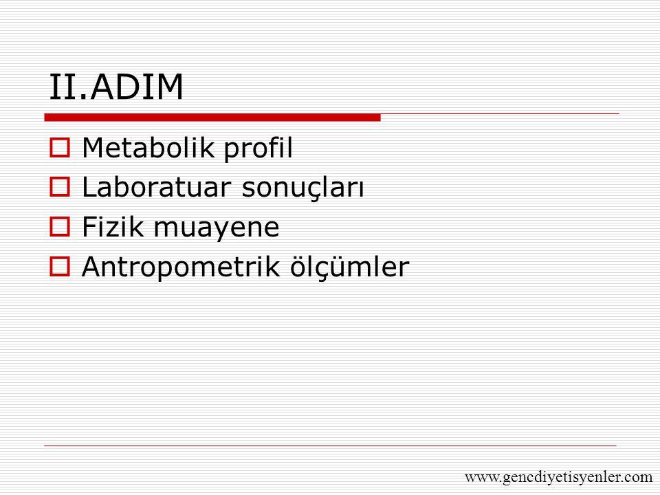 II.ADIM  Metabolik profil  Laboratuar sonuçları  Fizik muayene  Antropometrik ölçümler www.gencdiyetisyenler.com