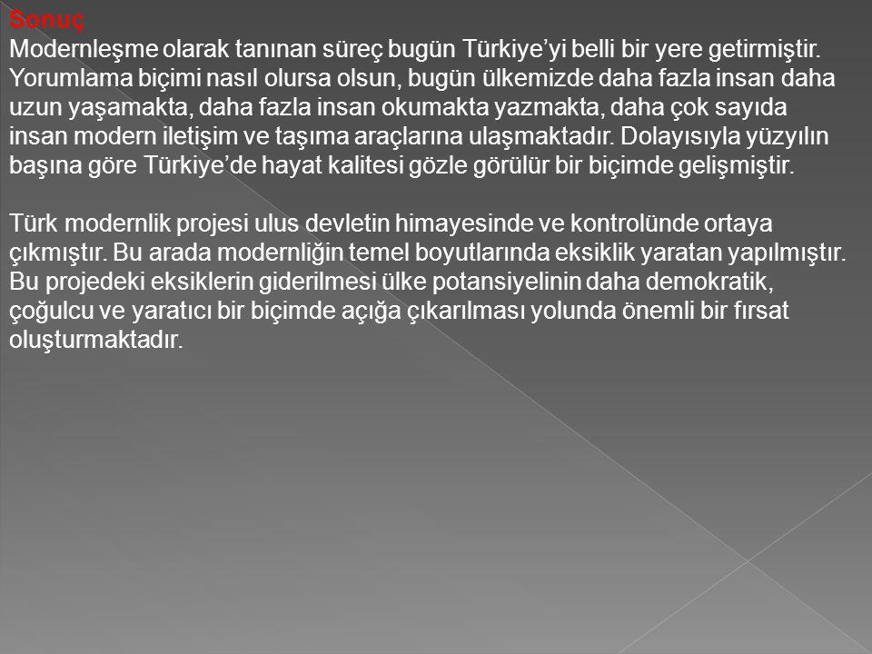 Sonuç Modernleşme olarak tanınan süreç bugün Türkiye'yi belli bir yere getirmiştir. Yorumlama biçimi nasıl olursa olsun, bugün ülkemizde daha fazla in