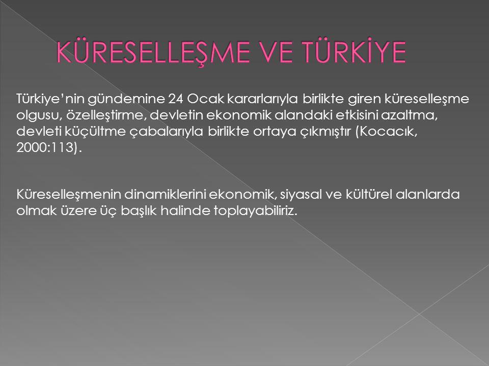 Türkiye'nin gündemine 24 Ocak kararlarıyla birlikte giren küreselleşme olgusu, özelleştirme, devletin ekonomik alandaki etkisini azaltma, devleti küçü