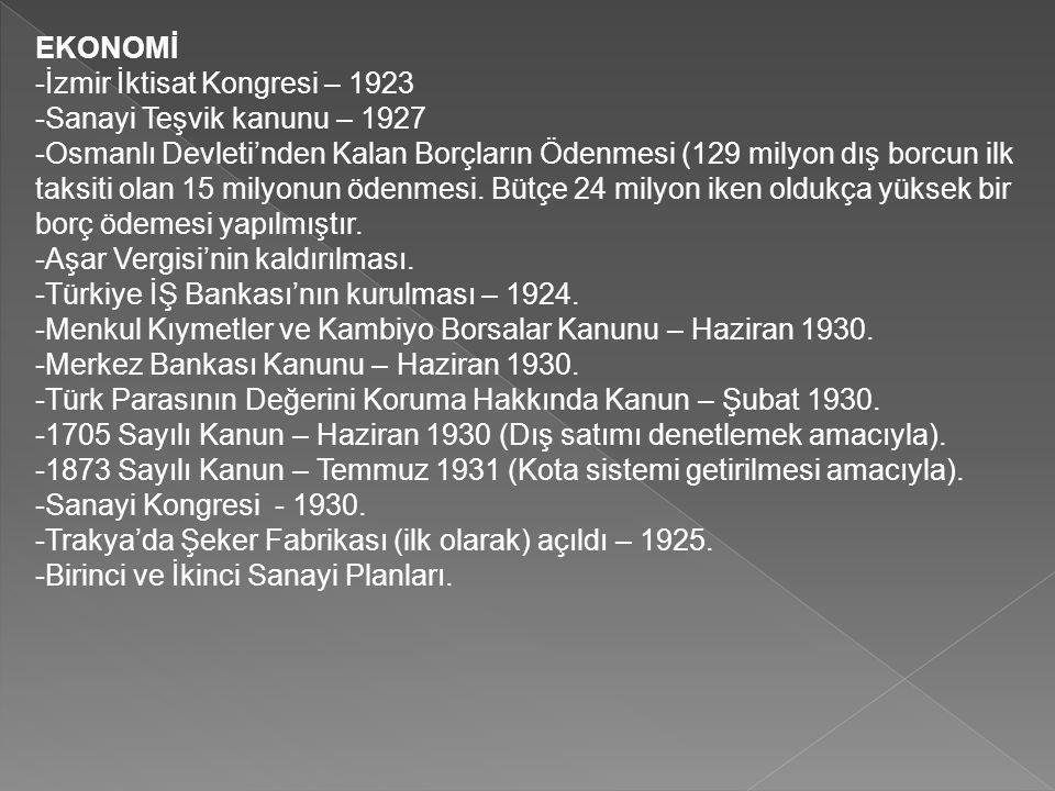 EKONOMİ -İzmir İktisat Kongresi – 1923 -Sanayi Teşvik kanunu – 1927 -Osmanlı Devleti'nden Kalan Borçların Ödenmesi (129 milyon dış borcun ilk taksiti