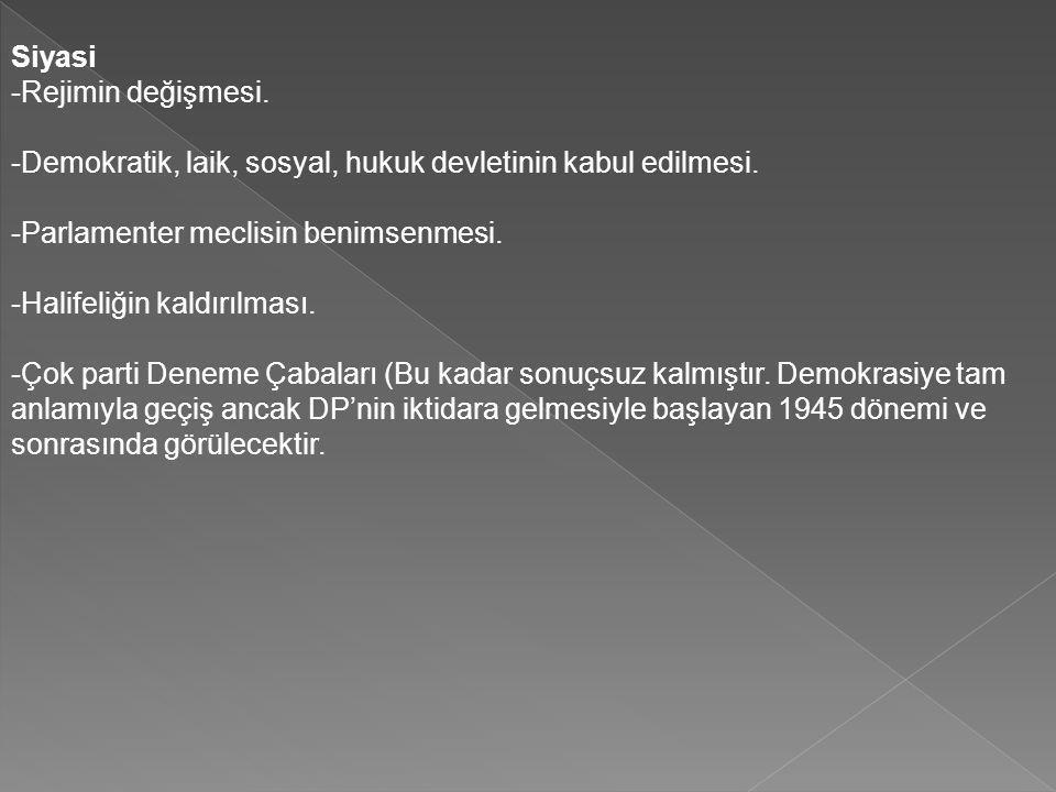 Siyasi -Rejimin değişmesi. -Demokratik, laik, sosyal, hukuk devletinin kabul edilmesi. -Parlamenter meclisin benimsenmesi. -Halifeliğin kaldırılması.