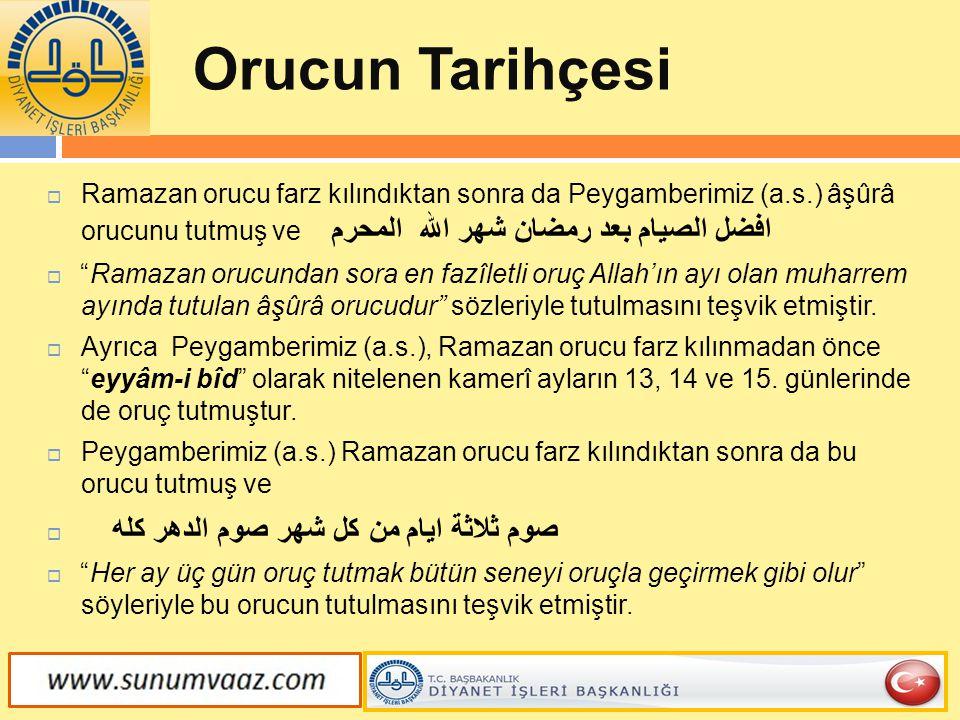"""Orucun Tarihçesi  Ramazan orucu farz kılındıktan sonra da Peygamberimiz (a.s.) âşûrâ orucunu tutmuş ve افضل الصيام بعد رمضان شهر الله المحرم  """"Ramaz"""
