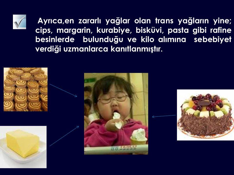 Ayrıca,en zararlı yağlar olan trans yağların yine; cips, margarin, kurabiye, bisküvi, pasta gibi rafine besinlerde bulunduğu ve kilo alımına sebebiyet
