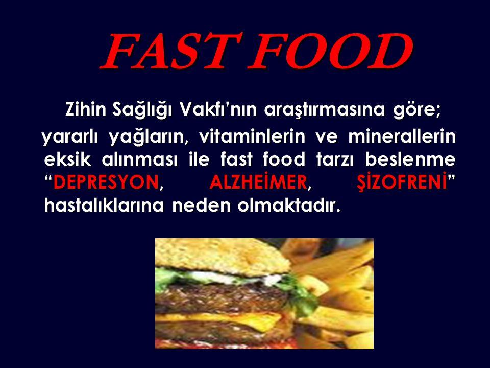 FAST FOOD FAST FOOD Zihin Sağlığı Vakfı'nın araştırmasına göre; Zihin Sağlığı Vakfı'nın araştırmasına göre; yararlı yağların, vitaminlerin ve minerallerin eksik alınması ile fast food tarzı beslenme DEPRESYON, ALZHEİMER, ŞİZOFRENİ hastalıklarına neden olmaktadır.