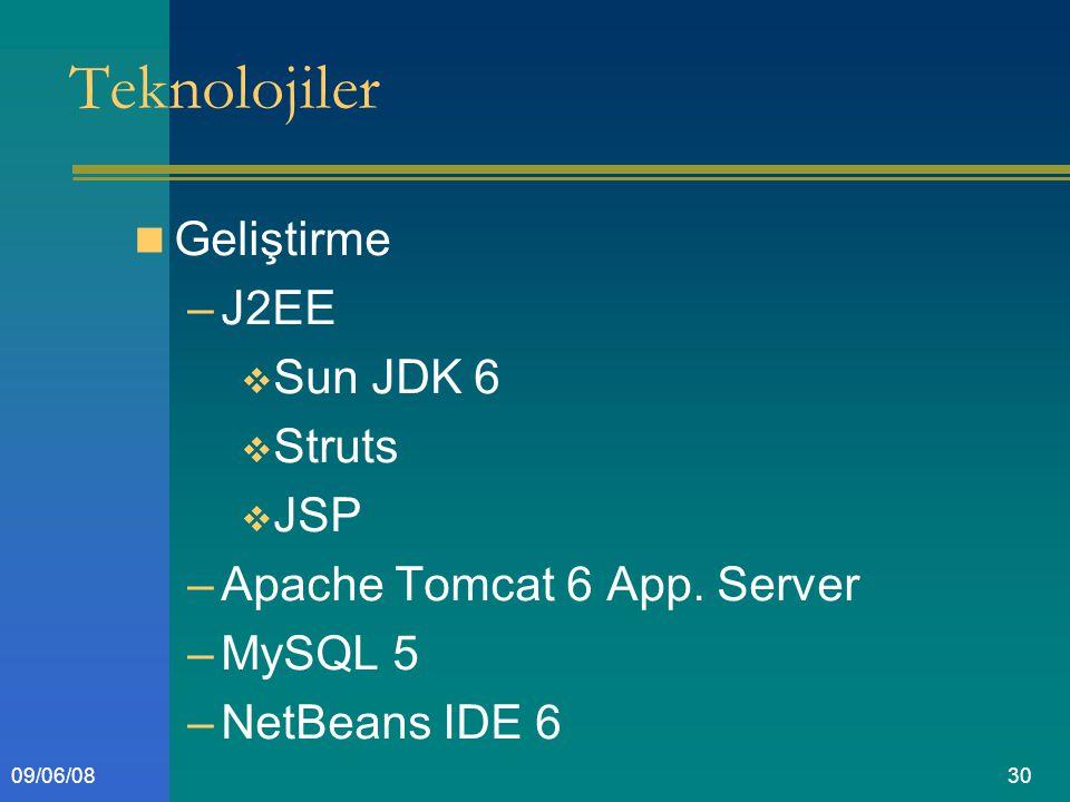 3009/06/08 Teknolojiler Geliştirme –J2EE  Sun JDK 6  Struts  JSP –Apache Tomcat 6 App.