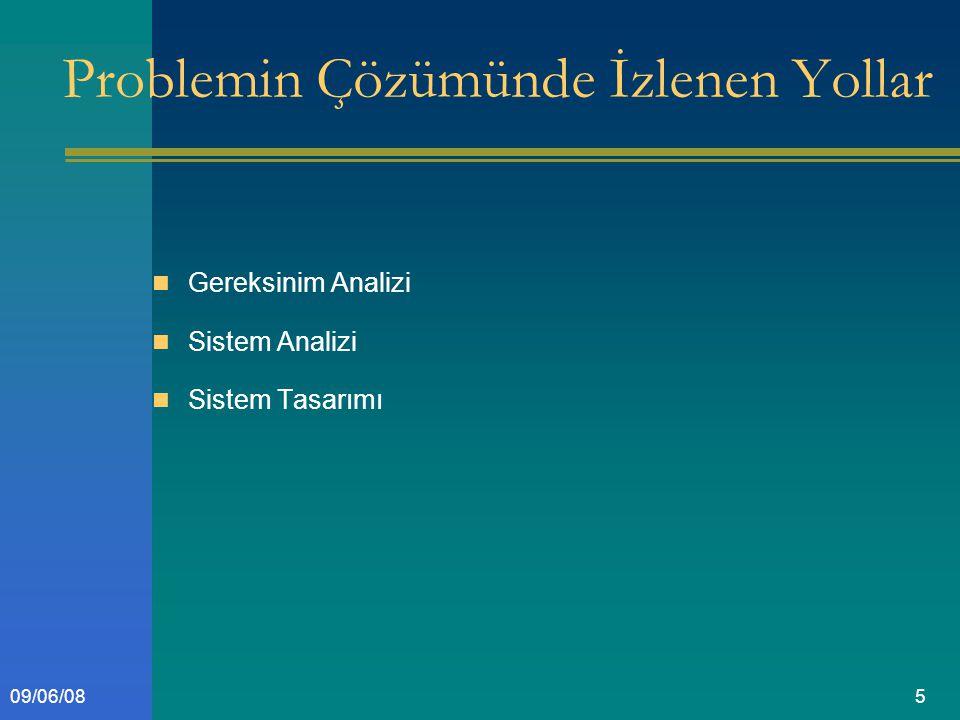 509/06/08 Problemin Çözümünde İzlenen Yollar Gereksinim Analizi Sistem Analizi Sistem Tasarımı