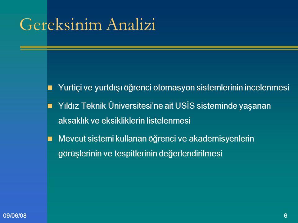 609/06/08 Gereksinim Analizi Yurtiçi ve yurtdışı öğrenci otomasyon sistemlerinin incelenmesi Yıldız Teknik Üniversitesi'ne ait USİS sisteminde yaşanan aksaklık ve eksikliklerin listelenmesi Mevcut sistemi kullanan öğrenci ve akademisyenlerin görüşlerinin ve tespitlerinin değerlendirilmesi