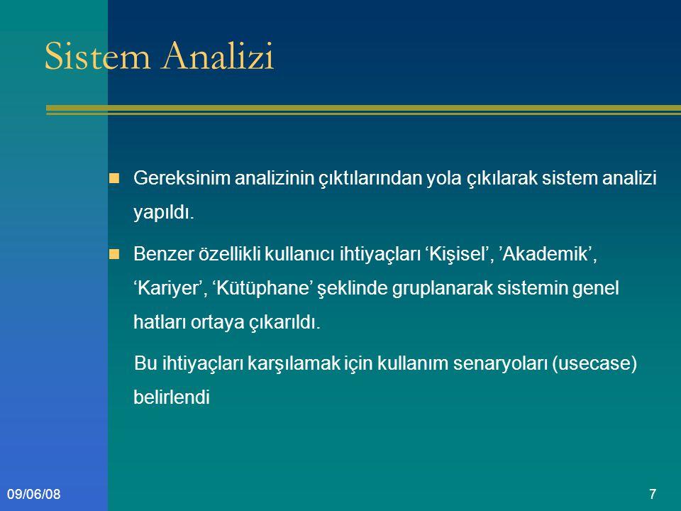 709/06/08 Sistem Analizi Gereksinim analizinin çıktılarından yola çıkılarak sistem analizi yapıldı.