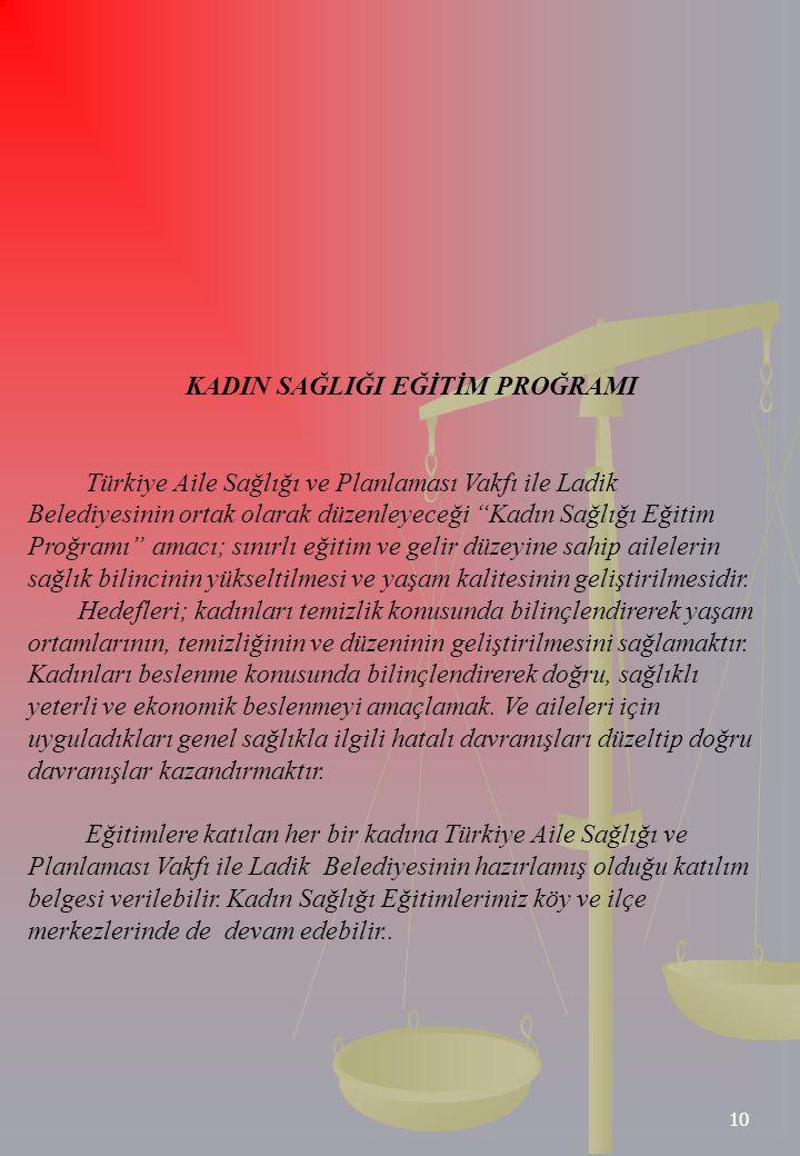 """10 KADIN SAĞLIĞI EĞİTİM PROĞRAMI Türkiye Aile Sağlığı ve Planlaması Vakfı ile Ladik Belediyesinin ortak olarak düzenleyeceği """"Kadın Sağlığı Eğitim Pro"""