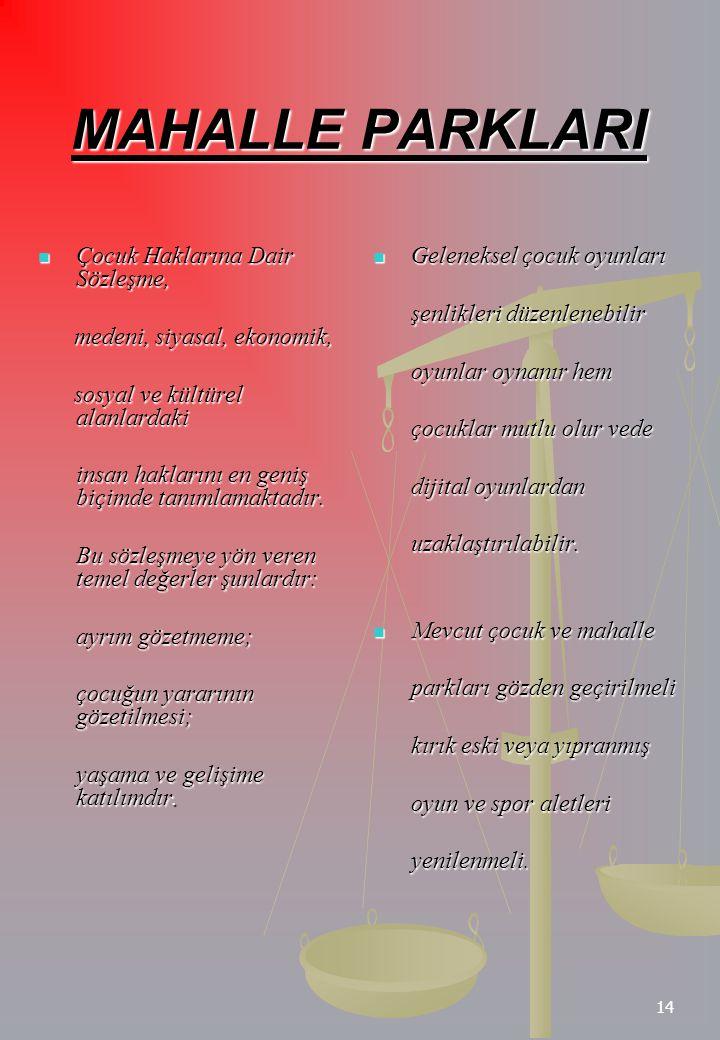 14 MAHALLE PARKLARI Çocuk Haklarına Dair Sözleşme, Çocuk Haklarına Dair Sözleşme, medeni, siyasal, ekonomik, medeni, siyasal, ekonomik, sosyal ve kült